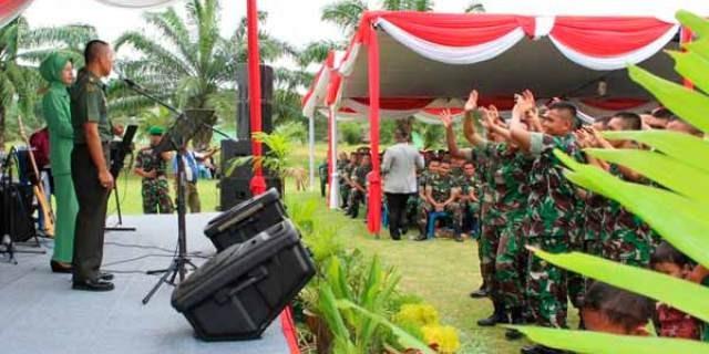 Pisah sambut Danyonif 141/AYJP Karang Raja Muara Enim, Sabtu (9/ 4/ 2016)