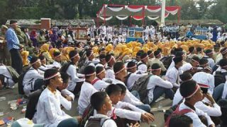 Peserta Apel Nusantara Bersatu di Muara Enim, Rabu (30/11/2016).