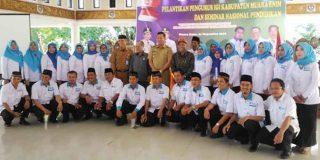 Pengurus IGI Muara Enim bersama Wakil Bupati Muara Enim Nurul Aman berfoto bersama usai pelantikan